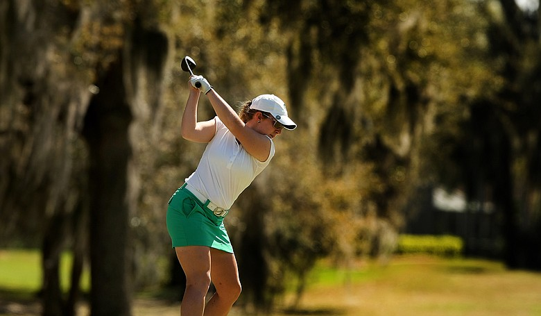 Michigan State's Caroline Powers at No. 16 during the Central District tournament at River Wilderness in Parrish.