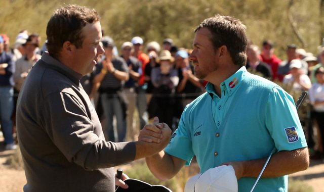 Graeme McDowell, right, eliminated Shane Lowry in the third round of the WGC-Accenture Match Play Championship.