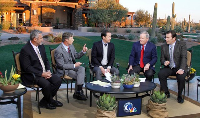 "From left, Frank Nobilo, Brandel Chamblee, Dan Hicks, Johnny Miller and Nick Faldo discussed the ""State of the Game"" on the Golf Channel in February 2013."