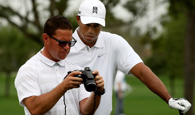 Tiger Woods and Sean Foley on the range before the Honda Classic.