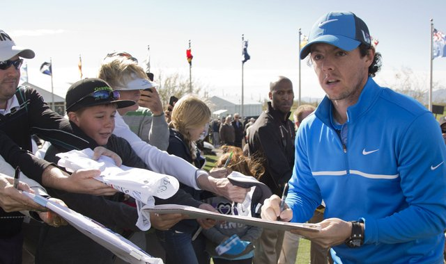 Rory McIlroy signed autographs for fans before the WGC-Accenture Match Play Championship.
