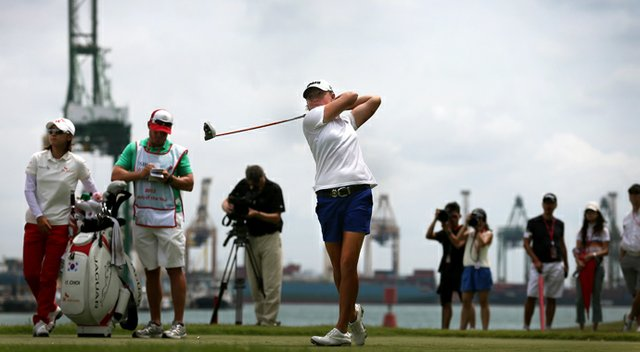 Stacy Lewis tees off on the 7th hole during the final round of the HSBC Women's Champions. She would eagle the hole.