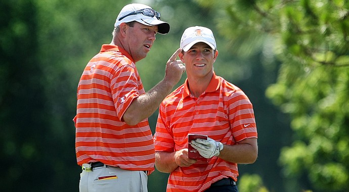 Illinois head coach Mike Small (left) with Luke Guthrie at the 2012 NCAA Southwest Regional.