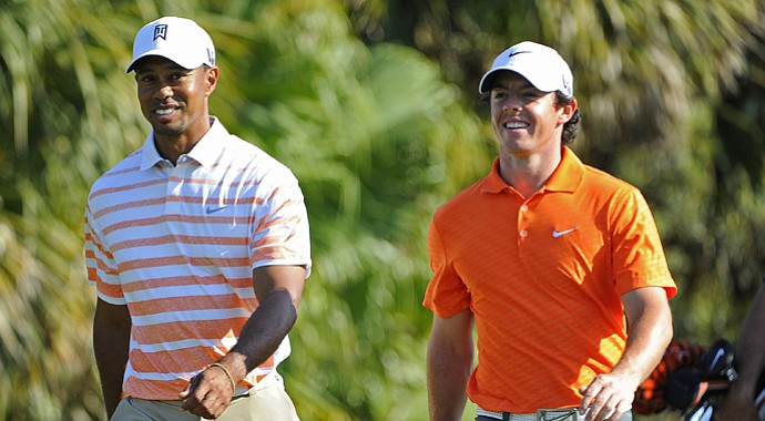 Tiger Woods and Rory McIlroy during the second round of the WGC-Cadillac Championship.