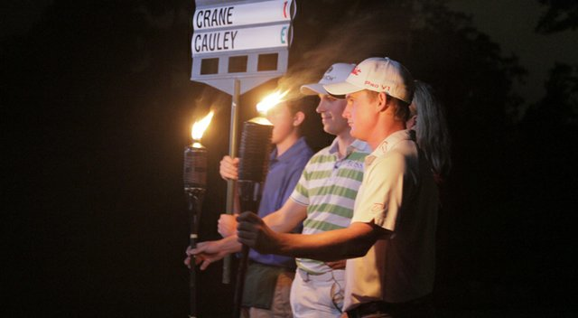 Ben Crane (left) and Bud Cauley take part in the filming of a commercial to promote the new night golf feature in EA Sports' 2014 Tiger Woods PGA Tour game, set to be released at the end of March.