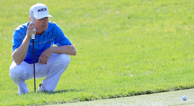 Justin Leonard plays a shot on the 15th hole during the third round of the Tampa Bay Championship.