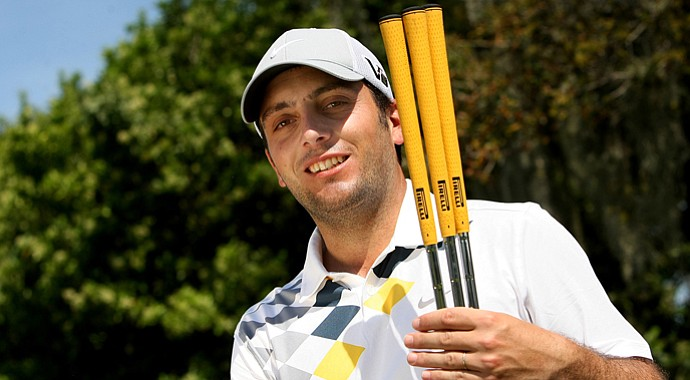 Francesco Molinari shows off his Pirelli grips on Tuesday of the Arnold Palmer Invitational.