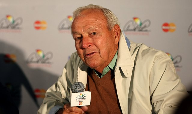 Arnold Palmer chats with the media on Wednesday of the Arnold Palmer Invitational at Bay Hill Club and Lodge.