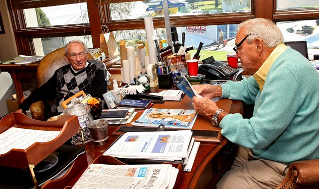 Dow Finsterwald (left) and longtime friend Arnold Palmer hang out in his office at Bay Hill, site of this week&#39;s Arnold Palmer Invitational.