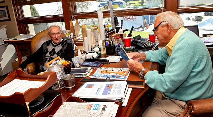 Dow Finsterwald (left) and longtime friend Arnold Palmer hang out in his office at Bay Hill, site of this week's Arnold Palmer Invitational.
