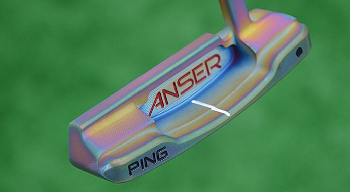 Bubba Watson's Ping Forged Anser putter has a unique finish that gives it purple and pink tones.