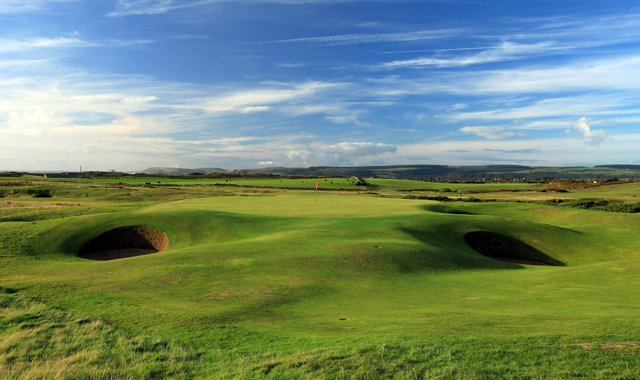 The green on the par-3, 149-yard 14th hole at The Royal Porthcawl Golf Club.