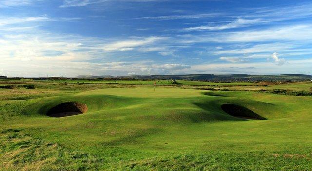 The green on the par-3, 149-yard 14th hole at The Royal Porthcawl Golf Club.