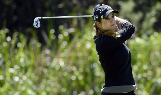 Beatriz Recari tees off during the final round of the LPGA 2013 Kia Classic.