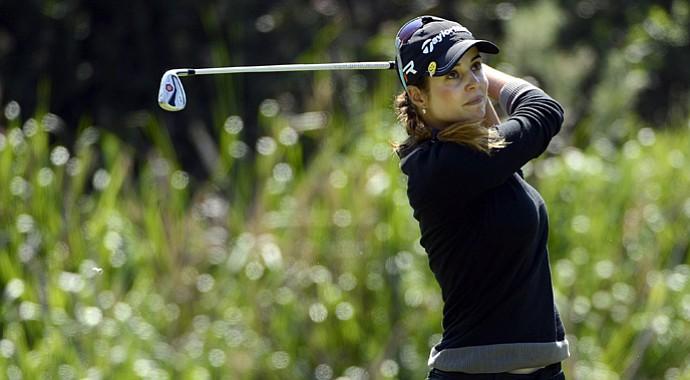 Beatriz Recari tees off during the final round of the LPGA 2013 Kia Classic.
