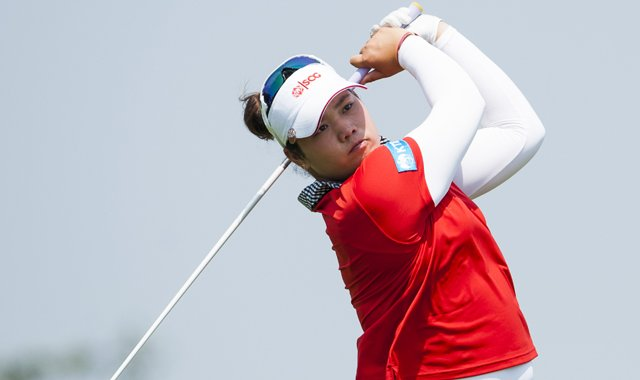 Ariya Jutanugarn tees off on the 6th hole during the fourth round of the Mission Hills World Ladies Championship at Mission Hills' Blackstone Course.