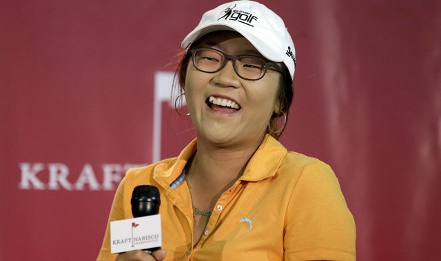 New Zealand amateur Lydia Ko smiles during a news conference at the LPGA Kraft Nabisco Championship on Wednesday.
