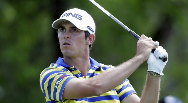 Billy Horschel watches his tee shot on the ninth hole during the third round of the Valero Texas Open.