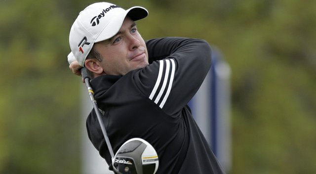 Martin Laird watches his drive on the 1st hole during the final round of the Texas Open.