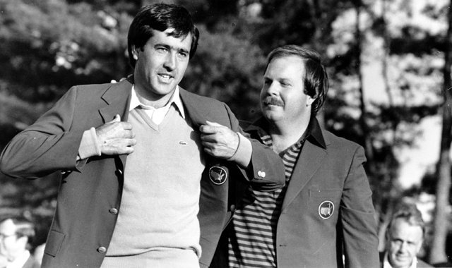 Seve Ballesteros gets his Green Jacket after winning the 1983 Masters.