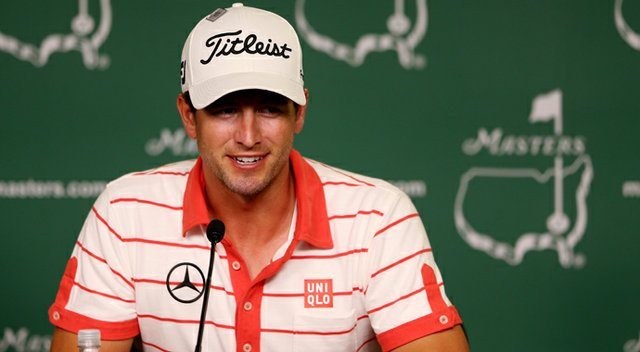 Adam Scott talks to the media during a press conference prior to the start of the 2013 Masters.