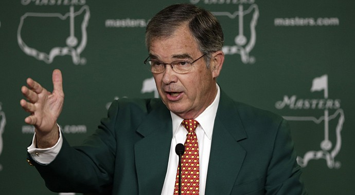 Billy Payne, chairman of Augusta National Golf Club, speaks during a media conference before the Masters.