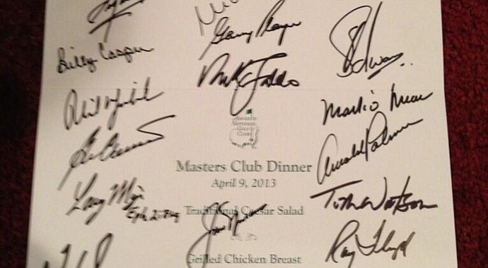 The 2013 Champions Dinner menu set by Bubba Watson.