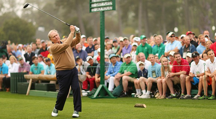 Honorary starter Jack Nicklaus tees off to start the first round of the 2013 Masters.