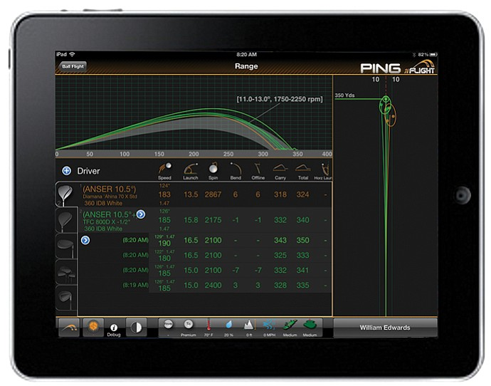 An iPad shows off Ping's proprietary fitting system, nFlight.