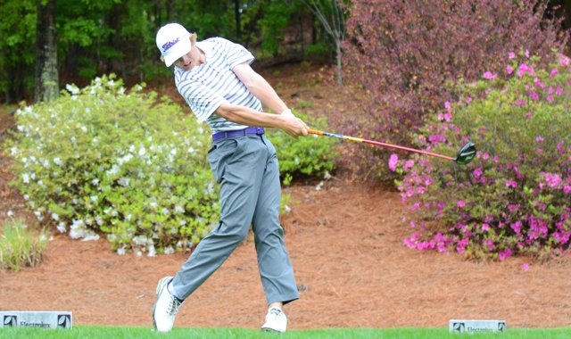 Sam Burns hits his tee ball on the par-4 3rd hole during the second round of the Junior Invitational at Sage Valley.