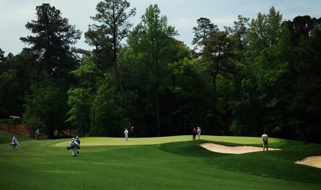 A look at the par-4 6th green, a reachable green off the tee.