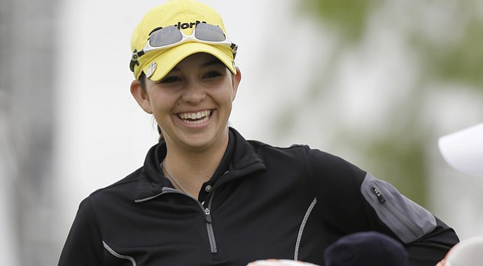 Taylor Coleman, 16, smiles before teeing off on the 10th hole during the second round of the North Texas LPGA Shootout.
