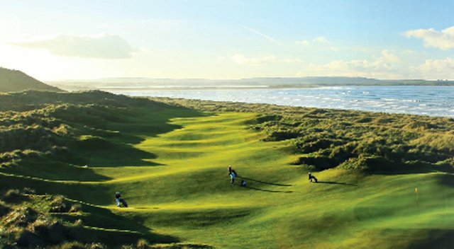 The 15th hole at Enniscrone Golf Club.