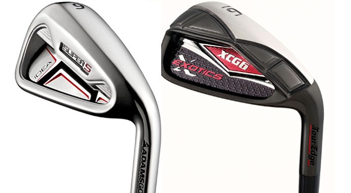 The Adams Super S and Tour Edge Exotics XCG6 irons may never be used by touring pros, but they're designed to deliver high performance for amateurs. And they're affordable.