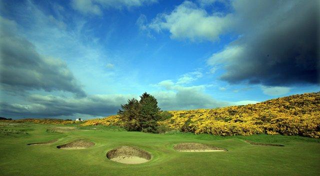 The par-3 10th hole at The Royal Dornoch Golf Club in Dornoch, Scotland.