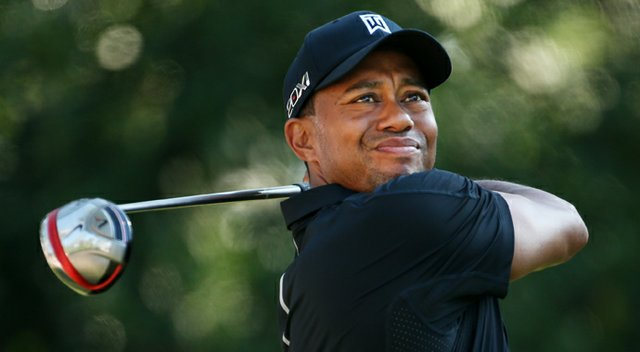 Tiger Woods plays a shot from the 11th tee during the second round of the Players Championship.