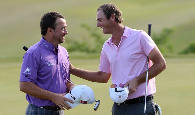 Graeme McDowell, left, defeated Nicolas Colsaerts, 2 and 1, in the quarterfinals of the 2013 Volvo World Match Play Championship.