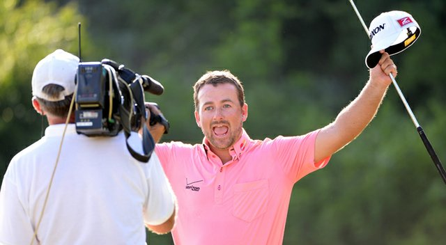 Graeme McDowell celebrates after beating Thongchai Jaidee in the final of the Volvo World Match Play Championship at Thracian Cliffs in Bulgaria.