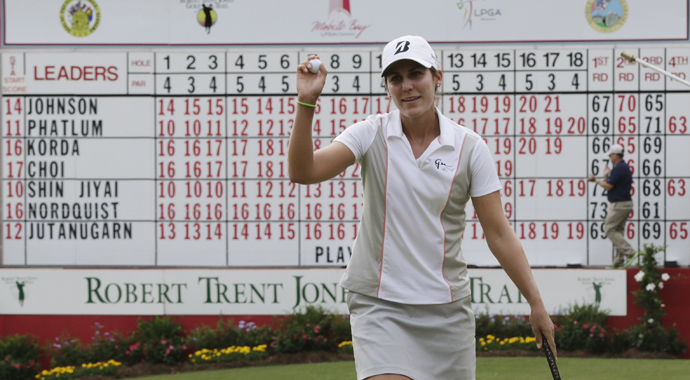 Jennifer Johnson won the Mobile Bay LPGA Classic on Sunday for her first tour title, birdieing four of the final six holes for a one-stroke victory over Jessica Korda and Pornagong Phatlum.