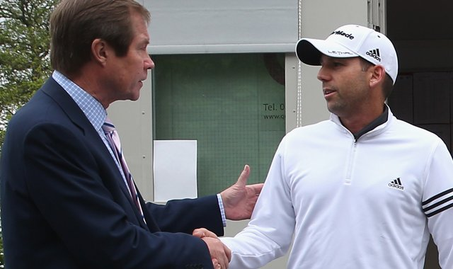 Sergio Garcia emerges from a meeting in the rules office with George O'Grady, CEO of the European Tour on Wednesday.