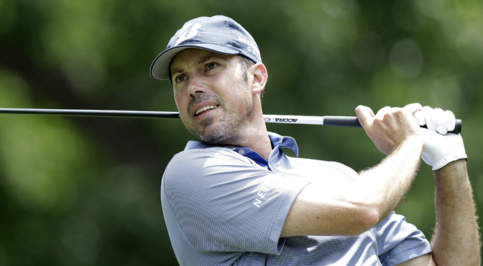Matt Kuchar made a 12-foot birdie putt at the 16th hole to regain the lead near the end of a long Saturday at Colonial, and led four players by a stroke after three rounds.