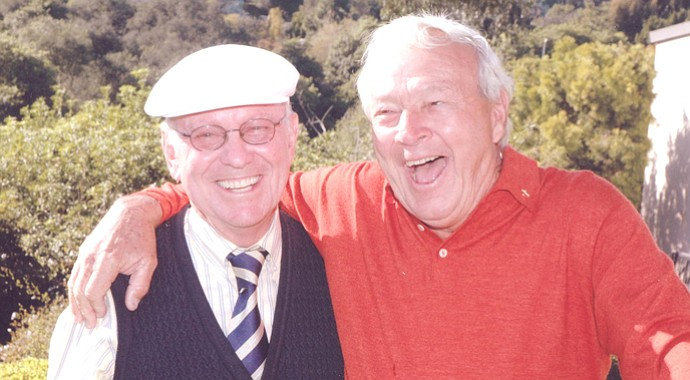 Eddie Merrins, left, with Arnold Palmer