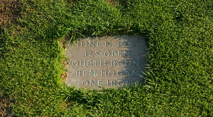 The plaque that remembers the unforgettable 1-iron approach shot that Ben Hogan hit to the par-4 18th hole at Merion to win the 1953 U.S. Open.