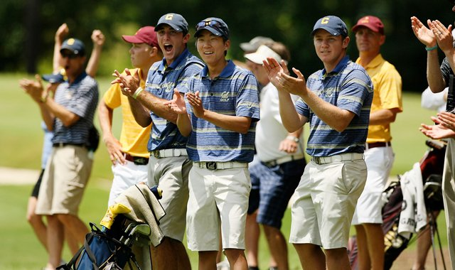 California's Max Homa, Michael Kim and Michael Weaver cheer on Brandon Hagy as he hits his second shot to four feet at No. 18 during the quarterfinals of match play at the 2013 NCAA Championship at Capital City Club Crabapple Course.