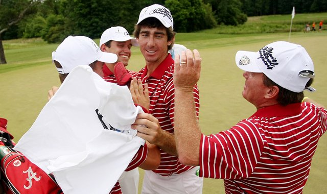 Scott Strohmeyer, center, along with Justin Thomas, Cory Whitsett and head coach Jay Seawell celebrate winning the 2013 NCAA Championship at Capital City Club Crabapple Course.
