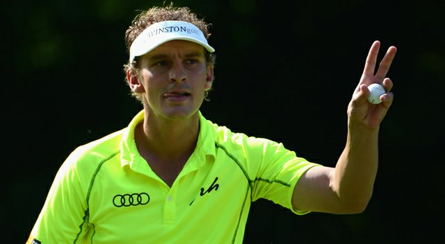 Joost Luiten acknowledges the crowd on the 18th green during the third round of the Lyoness Open.