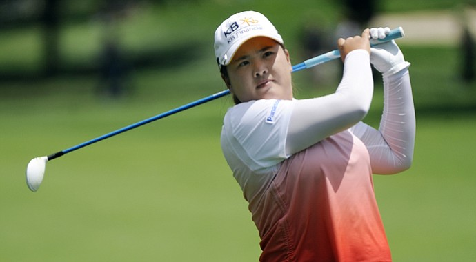 Inbee Park fired a 4-under 68 in the first 18 holes on Sunday at the Wegmans LPGA Championship.
