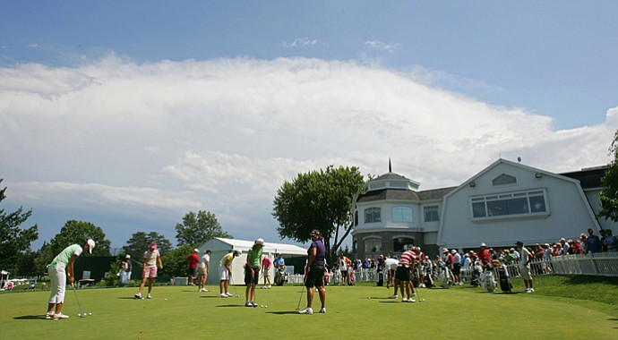 Players warm up at Locust Hill Country Club during the 2009 Wegmans LPGA.