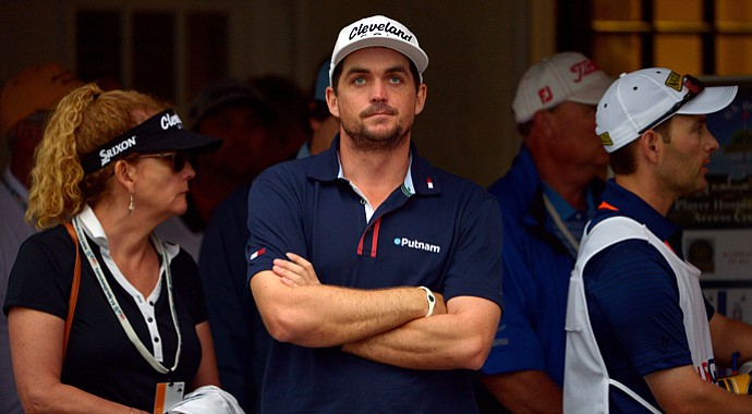 Keegan Bradley waits at the clubhouse while play is suspended due to weather during the first round of the U.S. Open at Merion Golf Club.