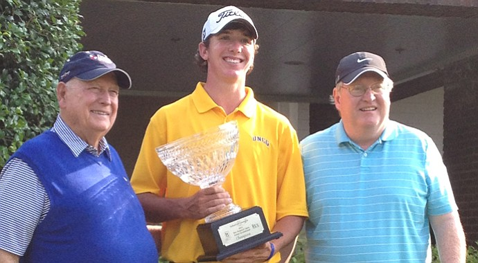 Carter Jenkins (center) after playing his way into the Web.com Tour's Rex Hospital Open.